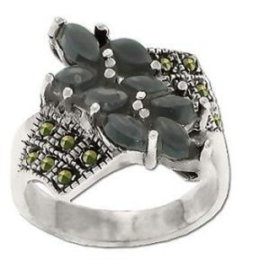 Jewelry - 925 12 Marcasite and 8 Onyx Stone Ring